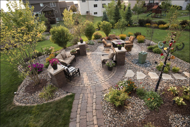 Picture of residential landscaping backyard